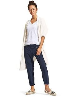 navy aspire ankle pant, perfect white daily tee, long sweater vest and flats Summer Outfits, Casual Outfits, Cute Outfits, Office Outfits, Harem Pants Outfit, Long Sweater Vest, Athleisure Outfits, Comfy Casual, Casual Chic