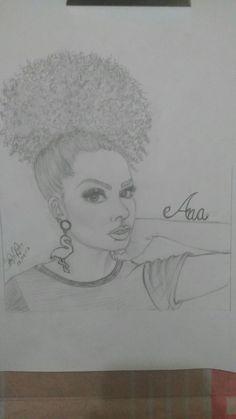 Desenho realista Ana Lídia Lopes blogueira.