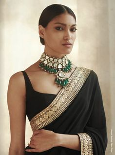 A classic uncut diamond choker with a gaggle of brooding Zambian emeralds. Interlaced with Japanese cultured pearls and a smattering of… Indian Attire, Indian Ethnic Wear, Indian Wedding Outfits, Indian Outfits, India Fashion, Ethnic Fashion, Anarkali, Lehenga Choli, Sabyasachi Sarees