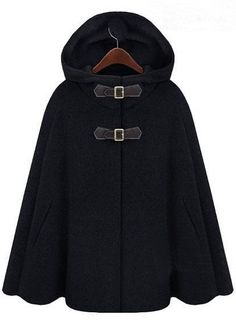 Black Hoodie Two PU Buckle Woolen Poncho Coat