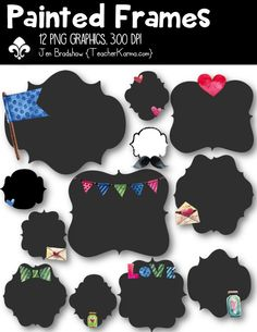 Painted Frames with hearts, flag, bunting, love letters and envelopes, bowtie, love, and mason jar!  These ** 12 **  graphics are just perfect for adding to your classroom materials and educational products that you sell on Teachers Pay Teachers or other sell sites. Commercial and personal use is ok.