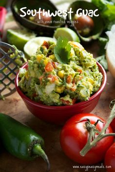Southwest Guac with Roasted Garlic and Tomatoes: this flavorful guacamole is loaded with veggies that are chopped and roasted making it the perfect appetizer or dip! - Eazy Peazy Mealz