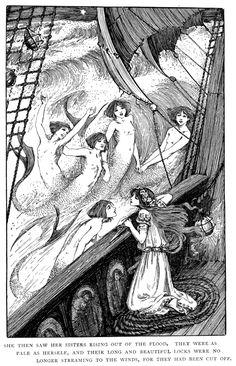 The Little Mermaid - Hans Andersen Illustration by Helen Stratton 1899 Gravure Illustration, Mermaid Illustration, Vintage Illustration Art, Mermaids And Mermen, Fairytale Art, Mermaid Art, Conte, Pretty Art, Aesthetic Art