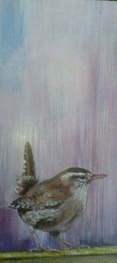 Wren. Acrylic on reclaimed wood.