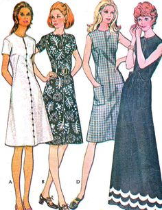 1970s Dress Pattern McCalls 3133 Split Neck A Line Midi or Maxi Dress Womens Vintage Sewing Pattern Bust 36 Uncut