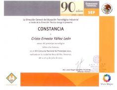 Constancia como asesor del prototipo tecnologico Adios a las goteras XIII Concurso Nacional de Prototipos 2011 Cristo Leon