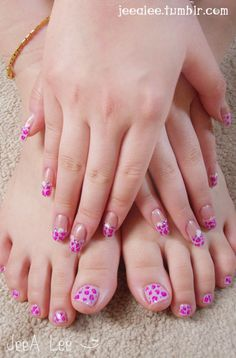 Coordinating Leopard Nails~    Sheer Shimmering Nude Base With Lavender French Tips.  Hot Pink And Purple Leopard Print.  Pink And Purple Stones And Pink And White Hearts.