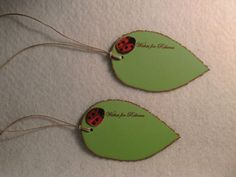 Leaf with ladybug tags - personalized favor tags or gift tags, wish tree tags - quantity 6