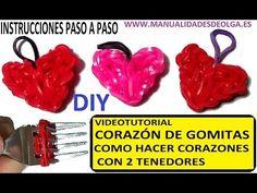 M COMO HACER UN CORAZÓN DE GOMITAS CON DOS TENEDORES. VIDEO TUTORIAL DIY FIGURAS - YouTube