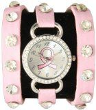 Breast Cancer Awareness Wrap Around Watch w/ Sparking Crystal Rhinestones Face Bling Pink Ribbon $13.49