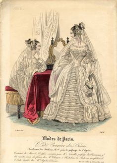Early Victorian wedding fashion print 1838 by SylvestraRegency Victorian Women, Victorian Fashion, Vintage Fashion, French Fashion, Gothic Fashion, Queen Victoria Wedding Dress, Parisian Wedding, Wedding Dress Patterns, Fashion Catalogue