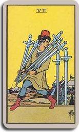The Seven of Swords card suggests that my power today lies in scruples. I will not cheat myself, look the other way, sneak or be distracted by...