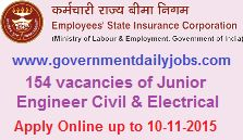 ESIC RECRUITMENT 2015 JUNIOR ENGINEER VACANCIES ~ Government Daily Jobs