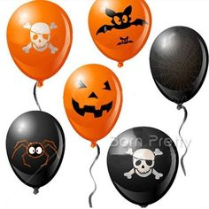 20pcs/Set Halloween Air Mylar Balloon Pumpkin Skull Halloween Party Decoration…