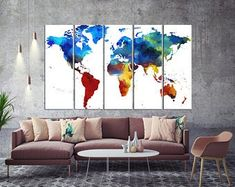 Large Canvas Prints Modern Wall Art for Home & by WALLARTSDECOR Blue Wall Decor, Canvas Wall Decor, Tree Wall Art, Modern Wall Decor, Wall Art Decor, Wall Art Prints, 3 Piece Canvas Art, Large Canvas Prints, Color World Map