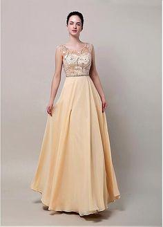 Stunning Chiffon Scoop Neckline Full-length A-line Prom Dresses