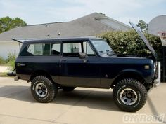 73 International Scout II.  Another vehicle I really miss having.  Mine was camo...and light blue.  Had to replace rusted out parts, you know.