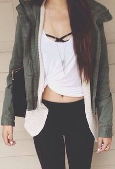 Great way to layer..black bralette, white top (knot and tie at the bottom side), cream knit cardigan, forest green jacket, and black jeans. Accessorize with a cute black bag and silver or gold jewelry.