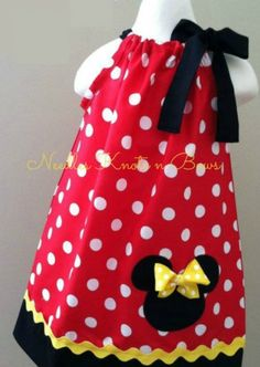 Girls Minnie Mouse Dress, Red Pillowcase Dress, Birthday, Red or Pink