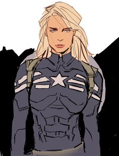 Another amazing version of Captain America, Stephanie Rogers-style, in the Winter Soldier/Commander Rogers uniform. Someone's about to get a shield to the face.
