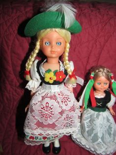 Mid Century German Dirndl Celluloid Blinking by VendageTresors
