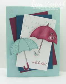 Weather Together Class of the Month Club Stampin Up umbrella clouds rain shower celebrate invite baby card