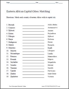 Printables States And Capitals Matching Worksheet california word search puzzle student handouts geography east africa capitals matching worksheet free to print pdf grades 3 and