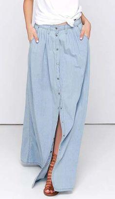 Baez Blue Chambray Maxi Skirt