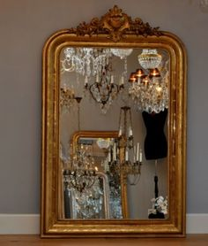 Antique French Mirror in chandelier room