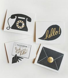 "Rifle Paper Co.  The set features 4 vintage style illustrations in charcoal ink and metallic gold foil accents. Each design depicts a different way to say ""Hello"", by telephone, conversation, telegram, and letter."