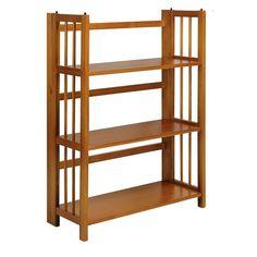 3-Shelf Folding Storage Shelves Bookcase in Honey Oak Finish