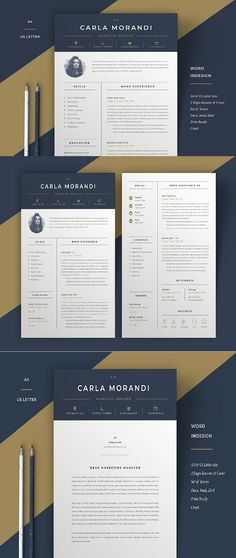 Professional Word Resume Cv Template designed by Anda Lia. the global community for designers and creative professionals. One Page Resume Template, Sample Resume Templates, Resume Design Template, Indesign Templates, Cv Template, Cover Letter For Resume, Cover Letter Template, Job Resume, Resume Ideas