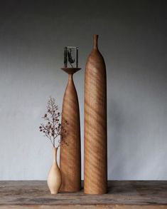 Wooden Statues, Wooden Art, Wooden Bowls, Tall Floor Vases, Candle Power, Candle Holder Decor, Wood Vase, Wooden Flowers, Wood Turning Projects