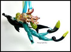 Art Glass Scuba Diver Sculpture Shark Dive by MorningLightGlass