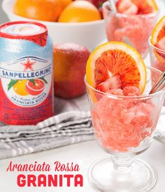 """Keep things cool at your next summer gathering by serving a refreshingly flavorful granita. To prepare, simply puree fruit with your favorite sparkling fruit beverage, like our Aranciata Rossa. Freeze in a shallow pan, """"rake"""" to serve, and garnish with fresh fruit. Made with real fruit juice from sun-ripened citrus, Sanpellegrino Sparkling Fruit Beverages are the go-to drink of summer."""