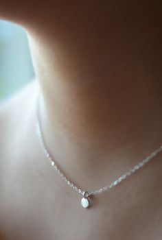 Tiny sterling silver disc necklace. By Kahili Creations of Hawaii...