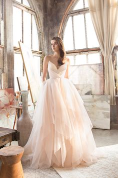 This blush gown from Tara Keely featuring an airy tulle skirt is utterly romantic! » Praise Wedding Community
