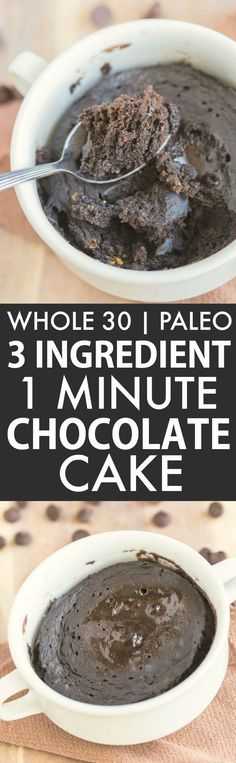 3 Ingredient 1 Minute Chocolate Cake Bake (Whole 30 Paleo V GF)- friendly breakfast or snack which uses just THREE ingredients- Flourless grain-free and fruit based and sweetened! Microwave mug cake or oven option! {whole 30 paleo vegan glu Whole 30 Dessert, Whole 30 Snacks, Whole 30 Recipes, Low Carb Dessert, Paleo Dessert, Dinner Dessert, Dessert Pizza, Paleo Recipes, Snack Recipes