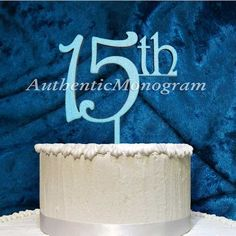 aMonogramArtUnlimited 15Th Wooden Cake Topper Color: Sky Blue
