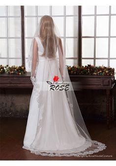Wedding Veil One Layer Tulle Bridal Veil Applique Veil No Comb Style BV088 - Wedding Veil