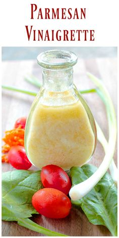 An easy delicious Homemade Parmesan Vinaigrette made with real grated Parmesan Cheese that would be a welcome addition to any salad. via @https://www.pinterest.com/BunnysWarmOven/bunnys-warm-oven/