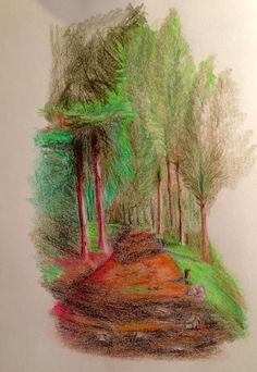 Beskid Żywiecki mountains, Poland; the drawing made with color pencils on a paper