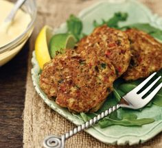 "Double Click Slowly on Pic for Recipe...Low Carb KEY WEST CRAB CAKES with MUSTARD SAUCE ... by George Stella ...visit us at ""Low Carbing Among Friends"" on Facebook"