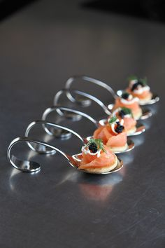 A Canapa Spoon of Oak Smoked Salmon  Caviar....lovely presentation and yummy-ness! LOL!
