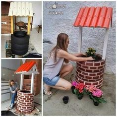 DIY Tire Wishing Well Planters, a unique way to recycle old tires for garden decoration Garden Crafts, Garden Projects, Diy Projects, Backyard Projects, Tire Craft, Tire Garden, Tire Planters, Tyres Recycle, Recycled Tires