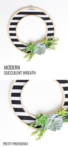 Modern Succulent Wreath - Pretty Providence Easy DIY modern wreath with stripes and succulents!Easy DIY modern wreath with stripes and succulents! Modern Wreath, Décor Antique, Diy Accessoires, Succulent Wreath, Ideias Diy, Faux Succulents, Home And Deco, Crafty Craft, Crafting