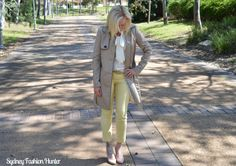 Sydney Fashion Hunter OOTD - Yellow Ankle Pants, Ivory Blouse, H&M Trench…