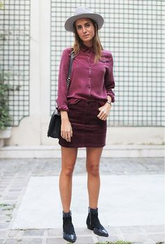 Burgundy corduroy skirt and burgundy blouse with ankle boots. // street style outfits