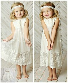 Off White Flower girl dress, girls lace dress, rustic flower girl dress, boho… Beach Flower Girls, Flower Girl Dresses Boho, Rustic Flower Girls, Girls Lace Dress, Little Girl Dresses, Cute Dresses, Girls Dresses, Dress Girl, Embroidery Dress