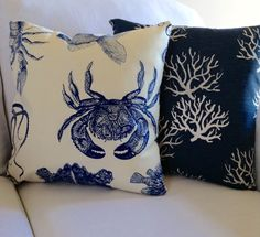 Down By the Sea Dou. Two 16x16 Classic Quality Pillow Covers. Sold as Set. Decorative Pillow Set. Pillow Shams, Pillow Cases